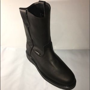 Men's Leather Pull On Black Work Boots light weigh
